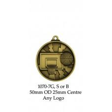 Baseball Softball Medals 1070-7G, S or B - 50mm