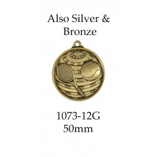 Tennis Medals 1073-12G, S or B - 50mm