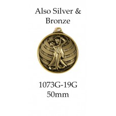 Dance Medals 1073-19G, S or B  50mm