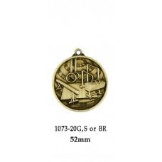 Gymnastics Medals 1073-16G, S & BR - 52mm