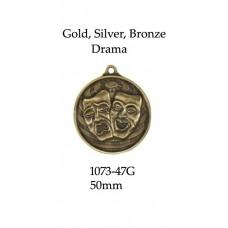 Drama Medals 1073-47G - 50mm Also Silver & Bronze