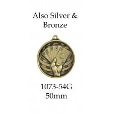 Playing Cards Medals 1073-54G, S or B  50mm