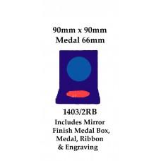 Cricket Medal Box Inc Medal 1403/2RB - 66mm