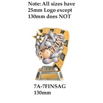 Ten Pin Bowling Trophy 7A-7FIN21G - 130mm Also 150mm 180mm 210mm