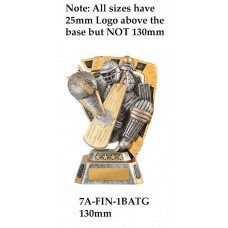 Cricket Trophies 7A-FIN-1BATG - 130mm Also 150mm 180mm & 210mm