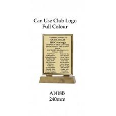 Plaque A1418B - 240mm H