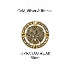Tennis Medals HV6058AG, AS, AB - 60mm