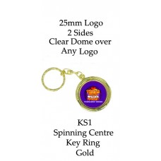 Key Rings Gold Club or Corporate Logo - KS1 (Min 25)