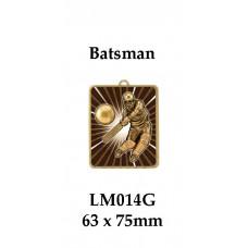 Cricket Medals Batsman LM014G, - 63mm x 75mm