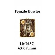Cricket Medals Female Bowler LM015G, - 63mm x 75mm