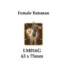 Cricket Medals Female Batsman LM016G, - 63mm x 75mm