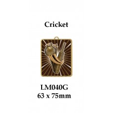 Cricket Medals Female LM040G, - 63mm x 75mm