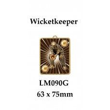 Cricket Medals Wicketkeeper LM010G, - 63mm x 75mm