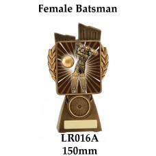 Cricket Trophies Female Batsman LR016A - 150mm Also 175mm 210mm & 245mm
