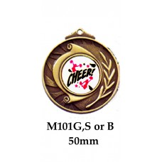 Cheerleading Medals M101G, S or B - 25mm Centre