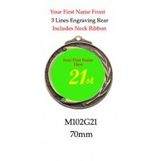 Novelty Medal 21st - M102G21 - 70mm
