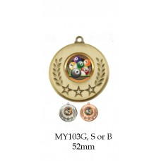 Billiards, Pool, 8 Ball Medals  - MY103G, S or B - 52mm