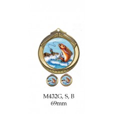Fishing Medals M432G, S or B - 69mm