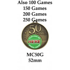 Rugby Medals MC50G, - 52mm - Also 100, 150, 200 & 250 Games