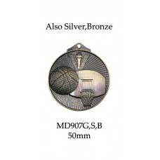 Basketball Medals MD907G, S or B - 52mm
