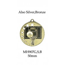 Basketball Medals MH907G, S or B - 52mm