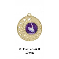 Dance Medals MH950G, S or B  50mm - 25mm Centre