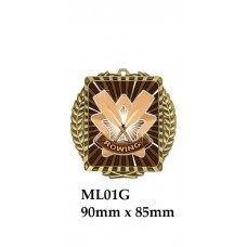 Rowing Medals ML01G - 90mm x 85mm Also Silver & Bronze
