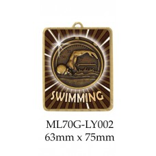 Swimming Medals ML70G-LY002 - 63mm x 75mm