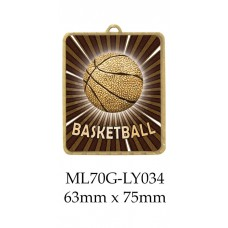 Basketball Medals ML70G-LY034 - 63mm x 75mm
