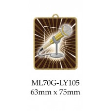 Novelty Medal Microphone ML70G-LY105 - 63mm x 75mm
