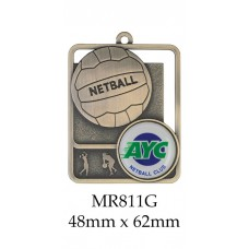 Netball Medals MR811G, S or B  48mm x 62mm