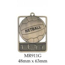 Netball Medal MR911G, S or B - 48mm x 63mm