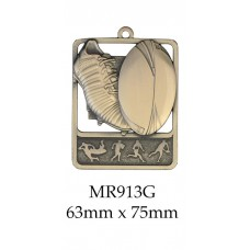 Rugby Medals MR913G, S or B - 48mm x 62mm