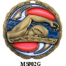 Swimming Medals MS902G, S or B - 63mm