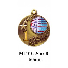 Swimming Medals MT101G, S or B  50mm