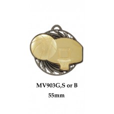 Basketball Medals MV907G, S or B - 55mm