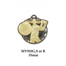 Cricket Medals MV910G, S or B - 55mm