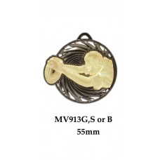 Rugby Medals MV913G, S or B - 55mm