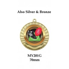 AFL Aussie Rules Medal MY201G Also Silver & Bronze 70mm