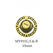 Netball Medals MY911G, S or B - 65mm