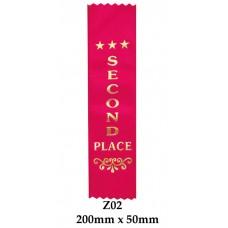 Sports Award Ribbons 2nd Place - Z02  (Pk 25)