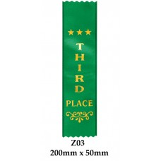 Sports Award Ribbons 3rd Place - Z03 - (Pk 25) 200mm x 50mm
