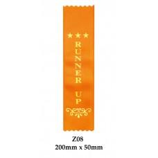 Sports Award Ribbons Runner Up - Z08 - (Pk 25) 200mm x 50mm