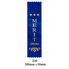 Sports Award Ribbons Merit - Z10 - (Pk 25) 200mm x 50mm