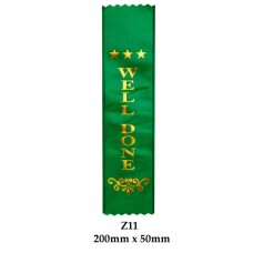 Sports Award Ribbons Well Done - Z11 - (Pk 25) 200mm x 50mm