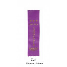 Sports Award Ribbons Commended - Z26 - (Pk 25) 200mm x 50mm