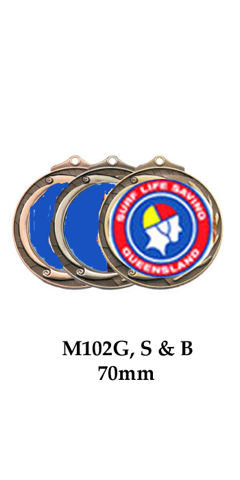 Surf Life Saving Medals M102G, S or B - 70mm